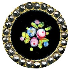 Button--Late 19th C. Enamel Flowers on Black Ground in Cut Steels--Medium