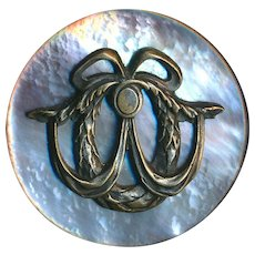 Button--Large Late 19th C. Brass Escutcheon Swagged Wreath on Pearl