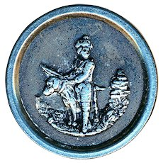 Button--Late 19th C. Pewter Outdoors Man with Huge Dog in White Metal Rim