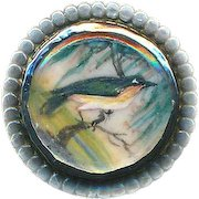 Button--Small Late 18th or Early 19th C. Late Georgian Hand Painted Bird Specimen Under Glass in (Tested) Pure Silver