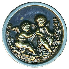 Button--Large Late 19th C. Brass Pair of Puttos or Putti Pals