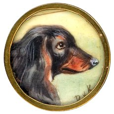Button--Early 19th C. Hand Painted Long-haired Dachshund Under Glass