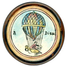 Button--Large Hand Inked and Tinted Aerial Balloon Under Glass in Copper