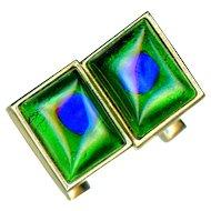 Cufflinks--Vintage 1960s Peacock Eye Glass Jewels in Gold-tone