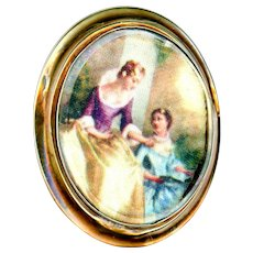 Brooch--Mid-19th C. Figures on Silk Under Glass in Gold-plated Brass