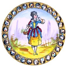 Button--Large Late 19th C. Emaux Peints Lady with Lavender in Mirror Steels