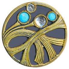 Button--Medium Secessionist Brass and Glass Jeweled Flora-foliate