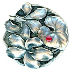 Button--Large Scarce Gebruder Falk 0.800 Silver & Ruby Flora-foliate