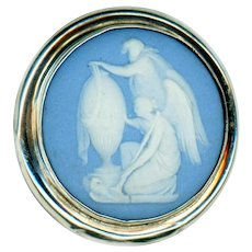 Button--Large 19th C. Wedgwood Jasper Ware Memorial in Sterling Silver