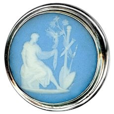 Button--Large 19th C. Wedgwood Jasper Ware Jasperware in Sterling Silver