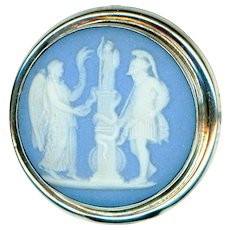 Button--Large 19th C. Wedgwood Jasper Ware Jasperware Nike in Sterling Silver
