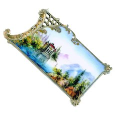 Button--Unusual 19th C. Rococo Silver Rectangular Enamel Scene