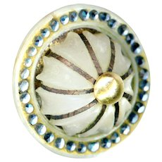 Button--Unusual 18th C. Georgian Compound Pearl, Paste, and Metal Overlay