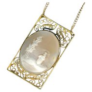 Necklace--Vintage Shell Cameo Woman Waiting in Filigree Gold-washed Silver