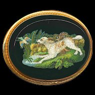 Brooch--Micro Mosaic Micromosaic Water Spaniel & Game in 14 Karat Gold--Museum Quality Very Large 19th C.