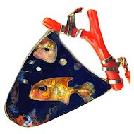 Necklace ~ Hand-crafted Cloisonne Enamel Fish in 14 Karat Gold and Coral by Susan Knopp