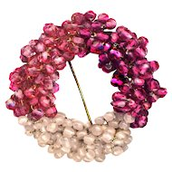 Brooch--Early Miriam Haskell Glass Bead Wreath--3 Pinks