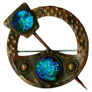 Brooch--Western NY Arts & Crafts Copper and Enamel Faux Penannular