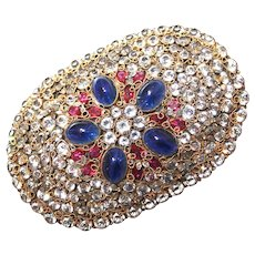 Brooch--Vintage Huge Hobe Jewel Encrusted Sash Pin