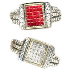 Ring--2 in 1 Invisibly Set Diamond and Ruby Convertible in Heavy 14 Karat Gold