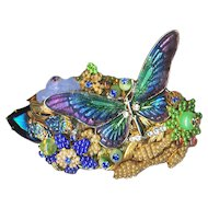 Brooch--Huge Vintage Stanley Hagler N.Y.C. Enamel Butterfly in Multi-layered Fantasy Glass Garden