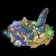 Brooch--Huge Vintage Stanley Hagler N.Y.C. Enamel Butterfly in Multi-layered Fantasy Glass Garden