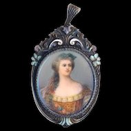 Pendant--Very Large 19th C. Germany Painting Under Glass in Enameled Sterling