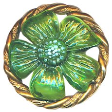 Brooch--3 Inch Pate de Verre Green Daisy with Opalescence on Gilded Brass by Blumenthal