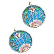 Earrings---19th C. Russian Filigree Enamel & Cyrillic on 0.84 Silver