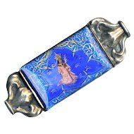 Brooch--Oriental Iconic Figure Painting Under Rock Crystal in Sterling Silver