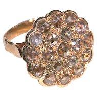 Ring--4 Carats Brownish Rose-cut Diamonds 19th C. 18 Karat Pink Gold