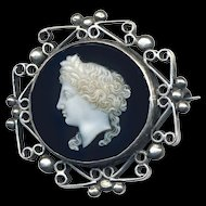 Brooch--Fine Translucent Stone Cameo in Unusual Hand Crafted Silver