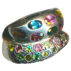 Ring--Wide Tourmaline Studded Sterling Silver Snake