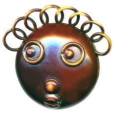 Button--Large Vintage Hard Celluloid Black Mammy