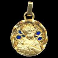 Pendant--Vintage Very Large Plique-a-jour Holy Medal of Christ Child