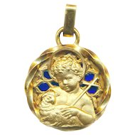 Pendant--Vintage Very Large Plique-a-jour Holy Medal of Christ Child