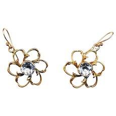 Earrings--Pinkish Gold-tone Open Floraforms with Bezel-set Quartz Stones