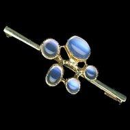 Brooch--Edwardian Era 5 Moonstones in 18 Karat Gold Bar Pin
