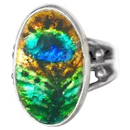Ring--Hand-crafted Modern Arts & Crafts Peacock Eye Enamel on Sterling