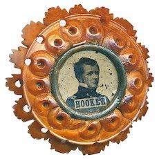 Button--Shankless Civil War Carved Vegetable Ivory with Federal General Joe Hooker