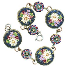 """Bracelet--Early 20th C. Glass Mosaic Disks in Brass--7"""""""