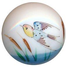 Button--Mid-19th C. Hand Painted Enamel Milk White Glass Marsh Bird