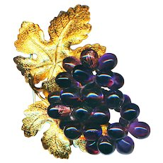 Brooch--Large Vintage Napier Glass Concord Grapes with Gold Foliage