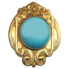 Brooch--Fin-de-siecle Secessionist Era Brass and Faux Persian Turquoise Glass