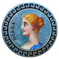 Brooch--Late 19th C. Emaux Peints Enamel on Sterling Silver Goddess Diana