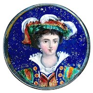 Brooch--Very Large 19th C. Limoges Enamel Renaissance Boy on Silver-plated Copper