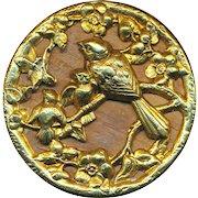 Button--Large Circa 1880 TW&W Paris Back Mother Bird & Fledglings