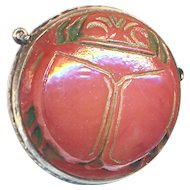 Vintage 1920s Pate de Verre Scarab Beetle Neo-Egyptian Necklace Clasp in Sterling Silver