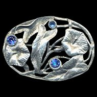 Brooch--Large Vintage Costume Coro Morning Glories--Faux Sapphires in Faux Silver for September's Child