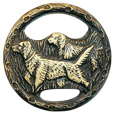 Button--Very Large One-piece Thirties Celluloid Ivoroid Bird Dogs--Setters